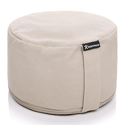 BODYMATE Extra-Hohes Yogakissen rund 31cm Durchmesser 20cm hoch Beige mit Buchweizen-Spelz Füllung – Maschinenwaschbarer Bezug aus 100% extra Dicker Baumwolle – Meditationskissen – Sitzkissen