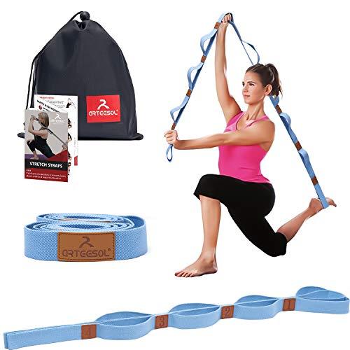 arteesol Yogagurt mit 10 Schlaufe Gymnastik-Gurt für Stretch Übungs, Schmerztherapie, Yoga und Faszien-Training Pilates Physiotherapie 2m lang