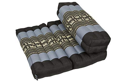 Handelsturm Faltbares Meditationskissen, Meditationssitz für Verschiedene Meditationstechniken, als Zafu und Zabuton, für Anfänger geeignet mit Fester Füllung aus Kapok (Blau/Elefanten)