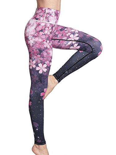 FLYILY Damen Sport Leggings Printed Fitness Tights Hosen für Laufen Yoga Workout