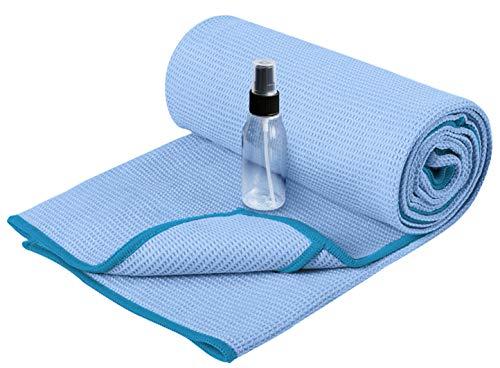 Heathyoga Yoga Handtuch mit hoher Bodenhaftung-Silikonbeschichtung, rutschfest-Wet Grip, 72'x26' (Blue, 72'x26')