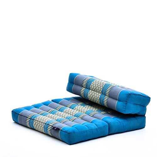 Leewadee Faltbarer Meditationssitz Yoga Sitzkissen platzsparendes universelles Meditationsset ökologisches Naturprodukt, Kapok, hellblau