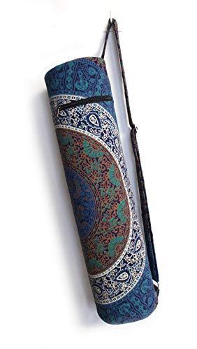 Popular Handicrafts Handwerk Indian Mandala Yogamatte, Tragetasche mit durchgehendem Reißverschluss mit Schultergurt, Hippie 27' Bag Only Tarquoise