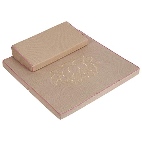 QTQHOME Tragbares faltbares Bodenkissen für den Außenbereich, Kokosfaser, Yogakissen, quadratisch, handgefertigt, Meditationsmatte, großes Zafu und Zabuton Meditationskissen, 60 x 60 cm