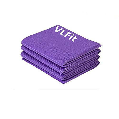 VLFit Klappbare Matte, Fitness, Yoga, Pilates - 6mm Sportmatte, rutschfest- Reise Yogamatte faltbar (LILA)