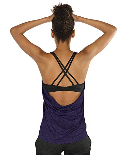 icyzone Damen Sport Yoga Top mit BH - 2 in 1 Fitness Shirt Cross Back BH Training Tanktop (L, Purple)