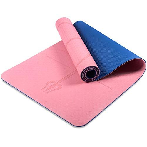 Gymnastikmatte Yogamatte Pilatesmatte Trainingsmatte rutschfest aus TPE Übungsmatte Sportmatte für Yoga Pilates Fitness Übungen und Gymnastik Körperausrichtungssystem 72 × 24 × 0,24 inch