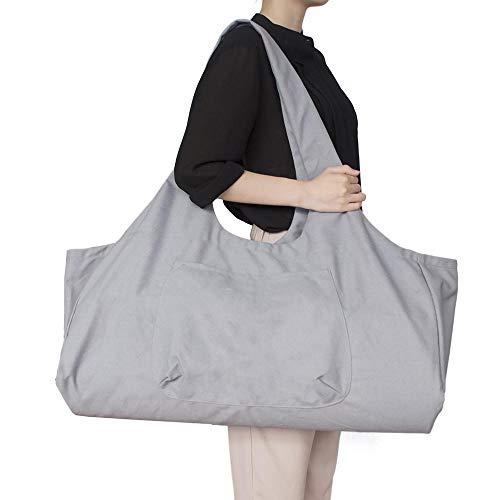 AOLVO Tasche für Yogamatte, mit Reißverschluss, groß, Yogamatte, Tragetasche mit Yoga-Tragegurt, Baumwoll-Leinen, 2 zusätzliche Taschen passend für 2 Yogamatten, 2 Handtücher, Schlüssel