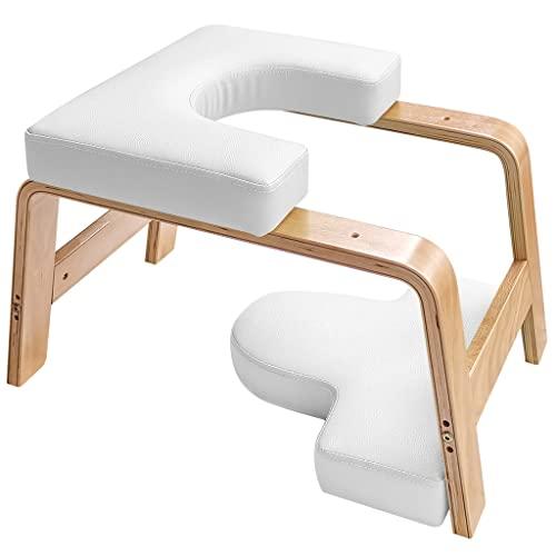 Restrial Life Yoga Kopfstandhocker, Yoga Kopfstandstuhl für Zuhause und Fitnessstudio, Holz und PU Polster, Ermüdung Entlasten und Körper Bauen (weiß)
