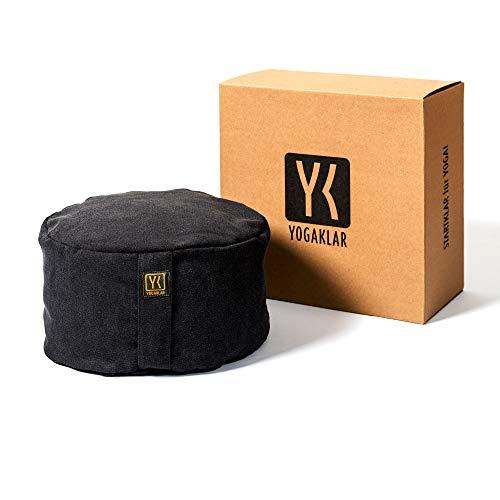 Yoga- und Meditationskissen 8 cm aus Baumwolle, gefüllt mit Buchweizenspelzen – stabil, pflegeleicht und umweltfreundlich – STARTKLAR für Yoga!…
