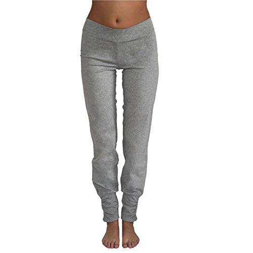 Leela Cotton Damen Freizeit, Yoga Hose Bio-Baumwolle (M, Hellgrau)