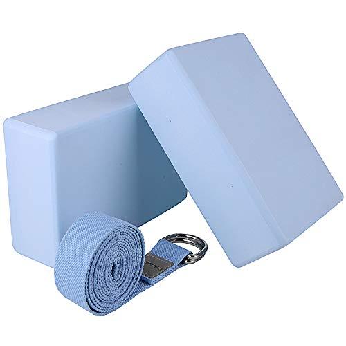 Viesap 2Pcs Yoga Blöcke Mit 1.8m Baumwoll Yogagurt, Yogablock 2er Set, Yogablock Und Gurt Set, Yogablock...