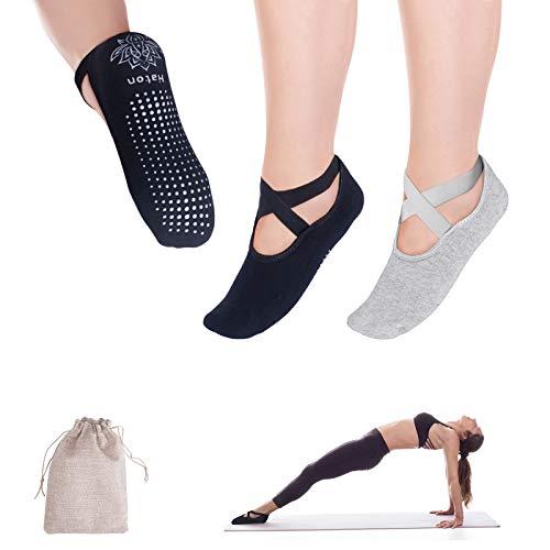 Haton Yoga Socken Damen 2 Paar rutschfest Sportsocken für Damen Männer Baumwollsocken Ideal für Yoga...