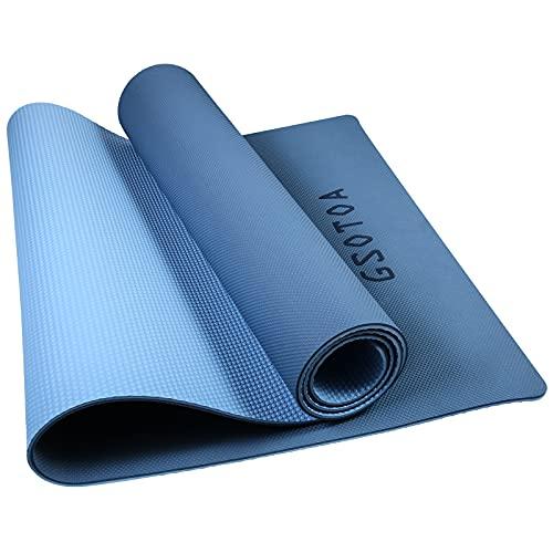 GSOTOA Gymnastikmatte, Pilatesmatte Yogamatte Rutschfest Fitnessmatte mit Tragegurt und Tasche, Umweltfreundliche TPE Sportmatte Dicke 6mm für Yoga, Pilates, Gymnastik - 183 x 61cm (Blau+Hellblau)