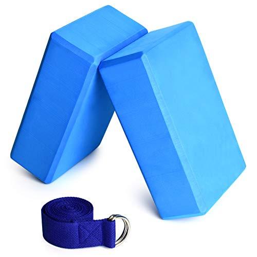 Festnight Yoga Block 2er Set mit 1er 1.8 m Baumwoll Yoga Gurt für Anfänger und Fortgeschrittene, Meditiation...