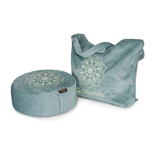 DiMonde Zafu Meditationskissen Yogakissen Rund – Tasche aus Suede - Buchweizenschälen - Waschbarer Bezug mit Griff - Mandala - Sitzhöhe 13 cm Durchmesser 33 cm Grün