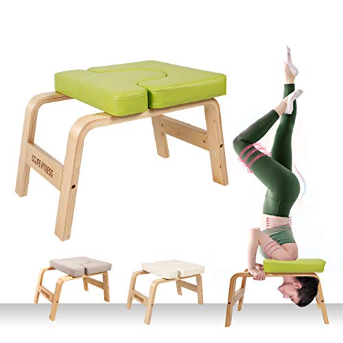 CCLIFE Yoga Kopfstandhocker Yogahocker Yogastuhl Kopfstand Holz Yoga-Hocker Hocker abnehmbar, Farbe:Grün