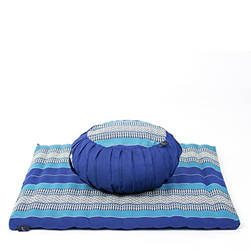 Leewadee Meditationsset Bezug abnehmbar und waschbar Yogaset aus Meditationskissen Zafu und Sitzmatte Zabuton Ökologisches Naturprodukt, 69x78x25 cm, Kapok, blau