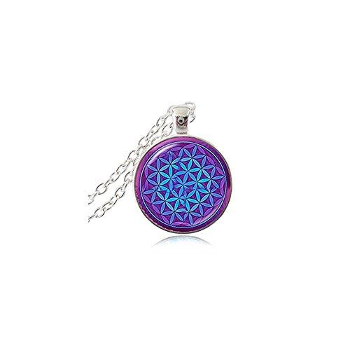 Lila Blau Om Anhänger Halskette Blume des Lebens Schmuck Mandala Statement Halskette Lange Ketten Yoga Jewelry
