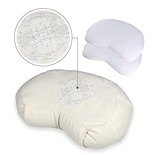 Halbmondkissen Yoga aus 100% Baumwolle - Höhenverstellbar Yoga Sitzkissen mit bequemer Buchweizen Füllung - Yogakissen Meditationskissen mit integriertem Tragegriff - Optimale Sitzhöhe zum Meditieren