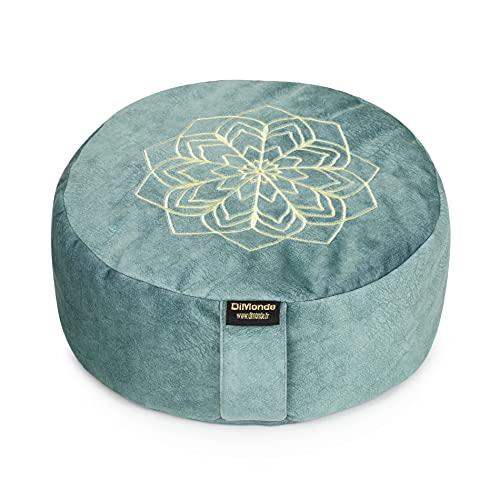 DiMonde Zafu Meditationskissen Yogakissen Rund - Buchweizenschälen - Waschbarer Bezug mit Griff - Baumwolletasche - Mandala - Sitzhöhe 13 cm Durchmesser 33 cm (grün)