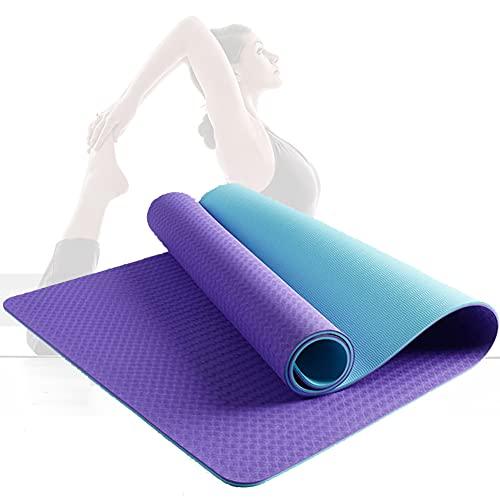 Gymnastikmatte, Yogamatte Yogamatte Gepolstert & Rutschfest Für Fitness Pilates & Gymnastik Mit Tragegurt Freizeit/Blue+purple / 183×61×0.6cm