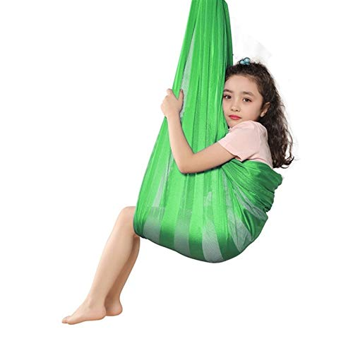 LHHL Therapieschaukel Kinder Yoga Hängematte Anti-Gravity-Yoga Set Aerial Yoga Tuch Hängematte Keine Nähte Aerial Yoga Tuch (Color : Green-B, Size : 290 * 160cm/114 * 63in)