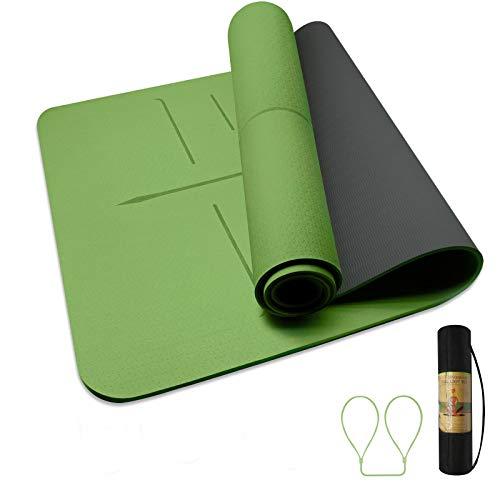 Husmeu TPE Yogamatte 183 * 66 * 0.8 Fitnessmatte Gynastikmatte Trainingsmatte Sportmatte rutschfest Doppelfarbig mit Tragegurt/Tasche Maße Grün/Schwarz