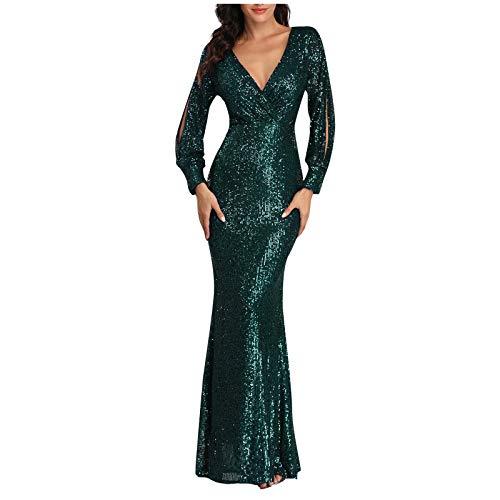 Kleid für Damen, langärmelig, sexy V-Ausschnitt, Pailletten, schmale Passform, Meerjungfrau-Abendkleid, Cocktailkleid, Homecoming formelle Kleider