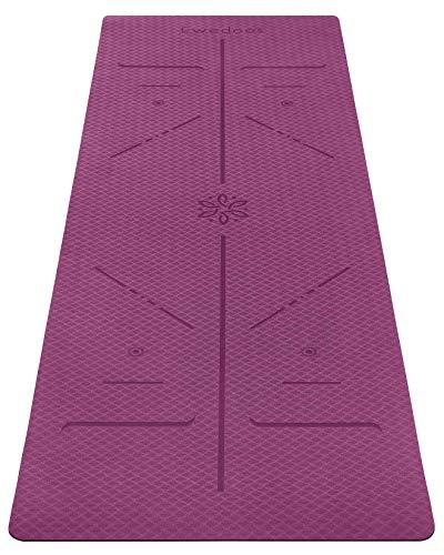 Ewedoos Yogamatte rutschfest mit Ausrichtungslinien umweltfreundliches TPE Yogamatten mit Tragegurt Ideal Yoga...