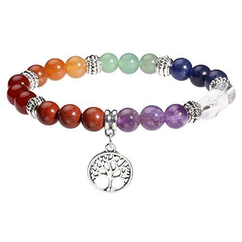 MILAKOO 7 Chakra Perlen Armband mit Lebensbaum Anhänger Bettelarmband für Frauen Männer Yoga Heilung