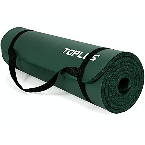 TOPLUS Yogamatte, verdickte, rutschfeste Gymnastik- und Pilates-Matte, klassische Profi-Fitnessmatte, NBR Gymnastikmatte mit Tragegriff, 183 x 61 x 1 cm, dunkelgrün