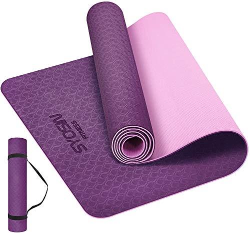 SYOSIN Yogamatte, TPE Gymnastikmatte rutschfest Fitnessmatte für Workout Umweltfreundlich Übungsmatte Sportmatte für Yoga, Pilates Heimtraining, 183 x 61 x 0.6CM (PURPLEPINK)