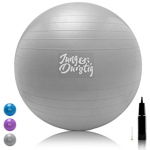 Jung & Durstig Original Gymnastikball inkl. Luftpumpe | Yoga Ball BPA-Frei | Pilates Ball bis 150 kg belastbar | Sitzball 65 cm | 75 cm | Fitnessball für zu Hause | Trainingsball Grau