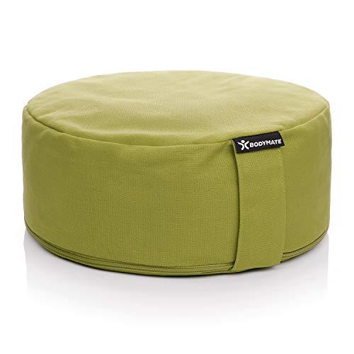 BODYMATE Yogakissen rund 31cm Durchmesser 13cm hoch Olive Green mit Buchweizen-Spelz Füllung – Maschinenwaschbarer Bezug aus 100% extra Dicker Baumwolle – Meditationskissen – Sitzkissen