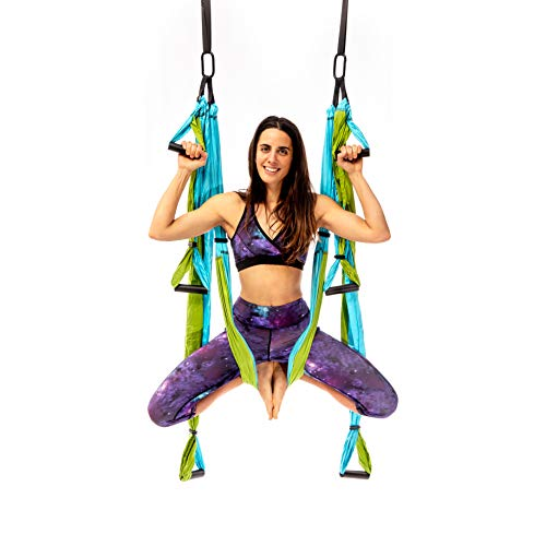 YOGABODY Yoga Trapeze Pro - Yoga Inversion Swing with Free Video Series and Pose Chart, Aqua