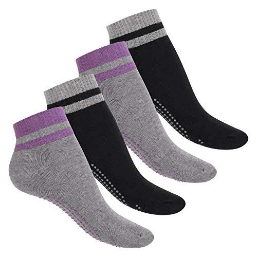 Celodoro Damen und Herren Yoga & Wellness Socken (4 Paar), ABS Söckchen mit Frottee-Sohle - Variante 1 39-42