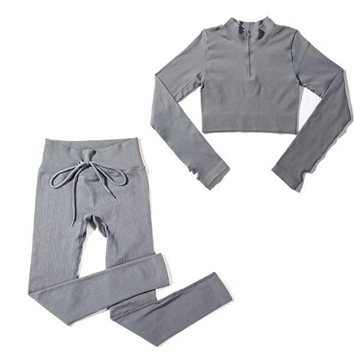 ABUCIYO 2 stücke Nahtlose Yoga Set Sexy Reißverschluss Langarm Kordelzug Hohe Taille Leggings Trainingskleidung Für Frauen Sportswear Set Set (Grey,Large)