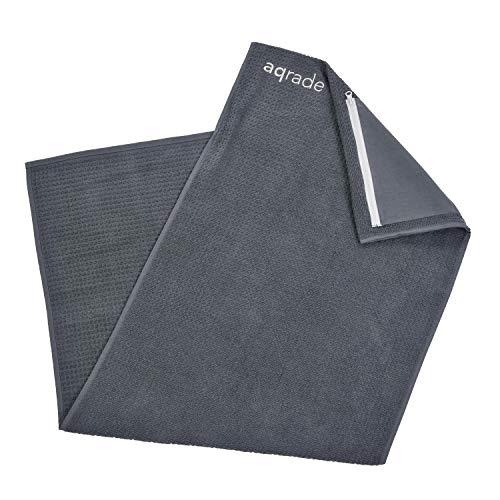 aqrade Sporthandtuch I Fitness Handtuch mit Tasche & Fixierung I 125x50cm I Gym Handtuch aus 100% Baumwolle I Graphit I XXL