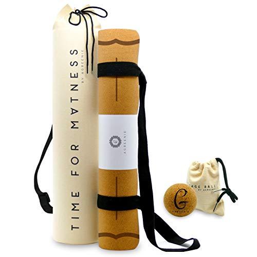 aGreenie® Premium Eco Yogamatte Tasche Set - Kork Naturkauschuk - 4mm – rutschfest – schadstoffrei –...