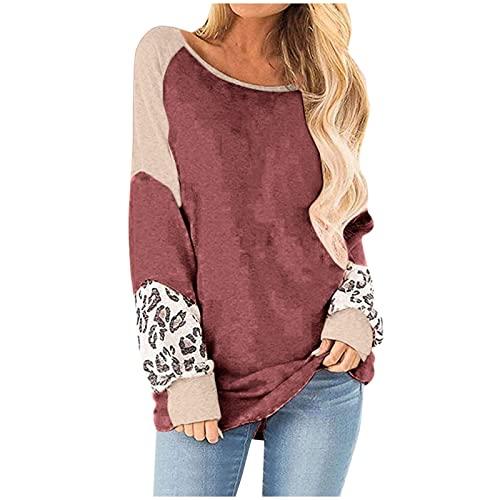 Damenmode Rundhals T-Shirt Herbst Leopardenmuster Einfarbig Nähte Langarm Top Sweatshirt top