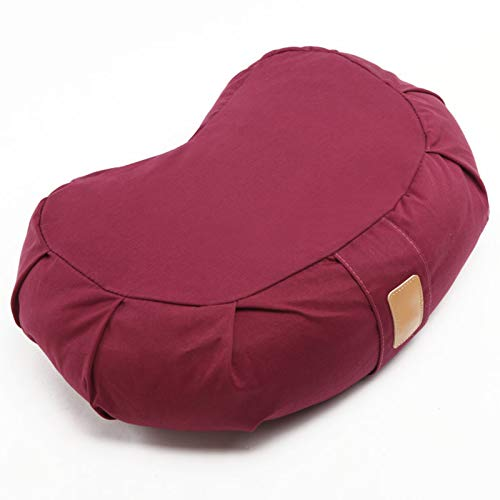 SFGSA Yogakissen Halbmond-Kissen mit Bio-Dinkelspelz Meditationskissen Rondokissen Meditiationsunterlage Hoher Sitz Komfort,Lila