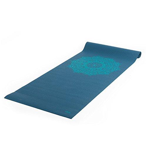 Yogamatte der LEELA COLLECTION, PVC-MAttte mit Öko-Tex 100, petrol, bedruckt mit türkisem Design-Print...