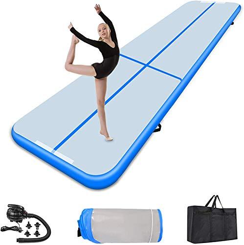 Turnmatte Aufblasbar Airtrack Fitness-Matte Gymnastikmatte 3/4/5/6m Yogamatte, Tumbling Matten, Trainingsmatte Sportmatte Yoga, Turn- & Fitness (Blue, 5X1X0.1M)