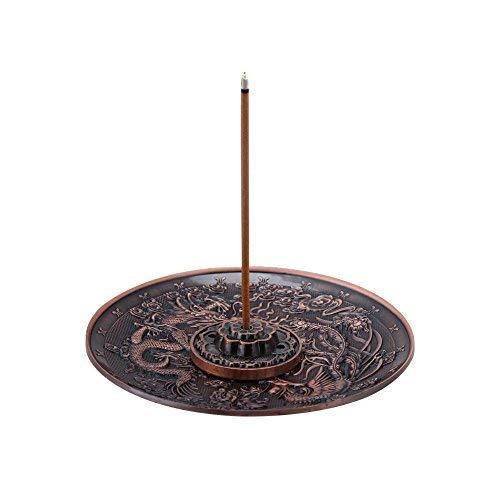 Zink Legierung Räucherstäbchen Brenner Halterung Dragon Muster Schwenkräuchergefäß Platte für Schlafzimmer Büro, Passform für 1,8mm 2,5mm 3,5mm Incenser Sticks Red-bronze