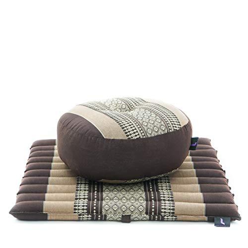 Leewadee Meditationsset Yogaset aus Meditationskissen Zafu und Kleiner rollbarer Sitzmatte Zabuton Ökologisches Naturprodukt, 50x50x18 cm, Kapok, braun