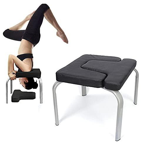 Futchoy Yoga Kopfstandhocker,Yoga Kopfstandstuhl für Zuhause und Fitnessstudio,Stahl und PU Polster, Ermüdung Entlasten und Körper Bauen,200KG Tragfähigkeit (Schwarz)