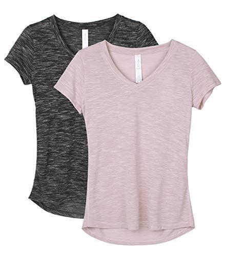 icyzone Damen T-Shirt Kurzarm V-Ausschnitt Yoga Tops Casual Sport Shirt 2er Pack (M, Black/Cameo Brown)