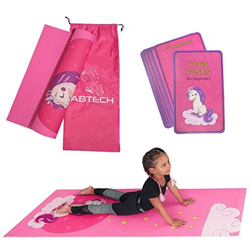 ABTECH Kinder Yogamatte im Set - Lustige Rosa Einhorn Yogamatte für Mädchen - Chemiefrei - Ungiftig - rutschfest - mit 12 Yogakarten