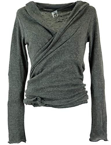 Guru-Shop Wickelshirt, Baumwollstrick Pullover, Wickeljacke, Damen, Granitgrau, Baumwolle, Size:M (38),...